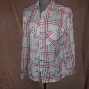 bella dahl red white blue washed window plaid top